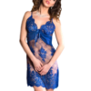 chiffon and lace chemise set in sapphire color