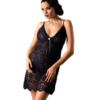 lace chemise set in navy color
