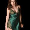 Satin chemise slip in emerald green color