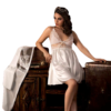 satin chemise set in white color