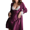 Satin chemise slip set in purple color
