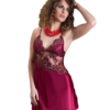 satin and chiffon chemise set in burgundy color