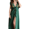 satin babydoll set in emerald green color
