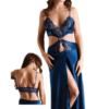 satin nightgown set in blue color