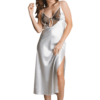 satin nightgown set in white color