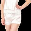 Satin short pyjama camisole in cream color