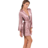 Satin nightgown set in pink bronze color