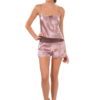Satin short pyjama camisole in pink bronze color
